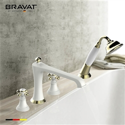 Bravat White Gold Deck Mount Bathroom Faucet With Hand Held Shower