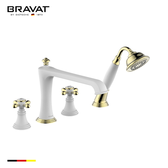 Bravat White And Gold Deck Mounted Bathroom Faucet With Hand Held Shower