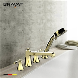 Bravat Gold Finish Bathtub Faucet With Dual Handle