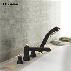 Bravat Dark Oil Rubbed Bronze Finish Bathtub Faucet With Hand Held Shower