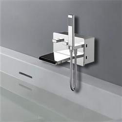 Bravat Chrome Finish Wall Mount Faucet With Hand Held Shower