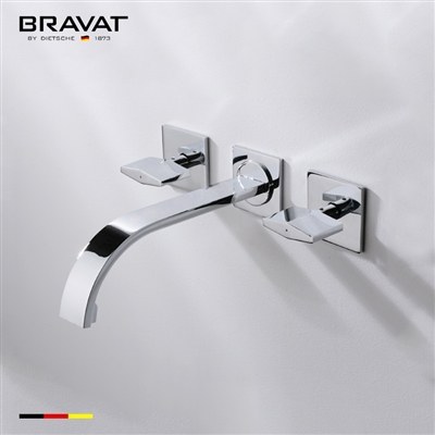 Bravat Wall Mount Chrome Faucet With Dual Handle