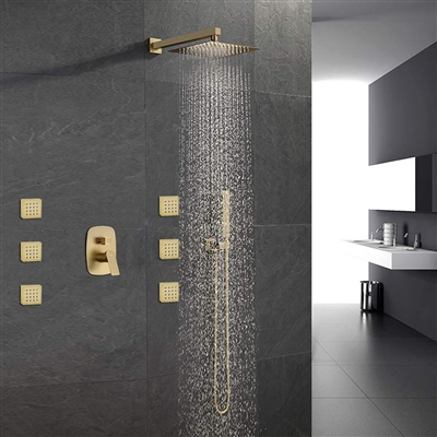 Peru Brushed Gold 10 Inch Wall Mount Rainfall Shower System Mixer With Body Jets Set