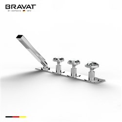 Bravat triple crystal faucet with handheld shower