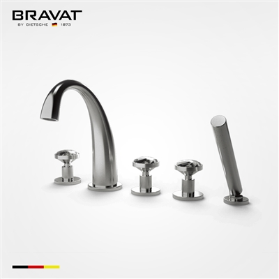Bravat triple crystal handle faucet with handheld shower