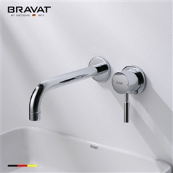 Bravat Chrome Finish Wall Mount Faucet With Single Handle