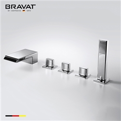 Bravat Ploished Chrome Finish Deck Mount Faucet With Hand Held Shower