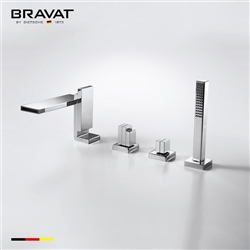 Bravat Chrome Finish Deck Mount Faucet With Hand Held Shower
