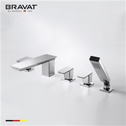 Bravat Chrome Finish Deck Mount Faucet With Triple Handle