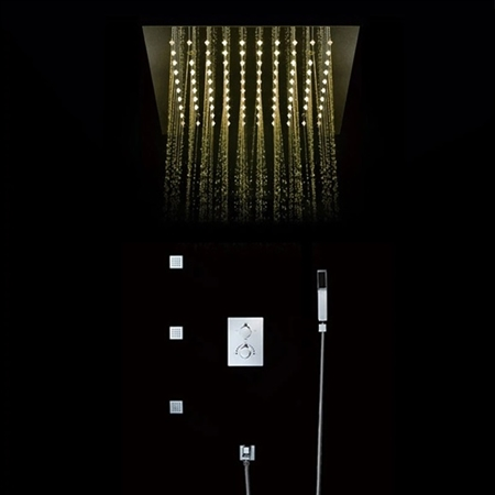 Maine Contemporary LED Rainfall Thermostatic Shower Head with Water Spout for Hand Shower in Chrome Finish
