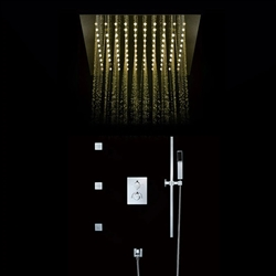 Maine Contemporary LED Rainfall Thermostatic Shower Head with Water Spout Slide Bar and Hand Shower in Chrome Finish