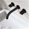 Delaware Contemporary Double Handle Wall Mounted Bathroom Sink Faucet in Black Brass Finish