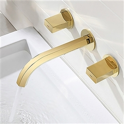 Delaware Contemporary Double Handle Wall Mount Bathroom Sink Faucet in Gold Finish