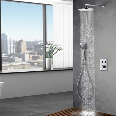 Oregon Wall Mounted Thermostatic Bathroom Rainfall Shower Mixer in Brass Chrome Finish