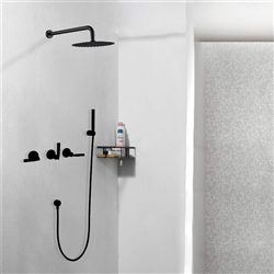 Seattle Contemporary Wall Mount Hot and Cold Bathroom Shower Set in Oil Rubbed Bronze Finish