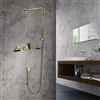 Seattle Contemporary Wall Mounted Hot and Cold Bathroom Shower Set in Gold Finish