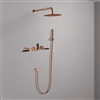 Seattle Contemporary Wall Mount Hot and Cold Bathroom Shower Set in Rose Gold Finish