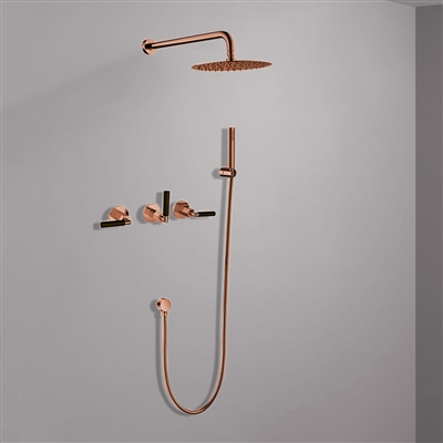 Seattle Contemporary Wall Mounted Hot and Cold Bathroom Shower Set in Rose Gold Finish