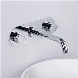 Chrome Finish Wall Mount Dual Handle Bathroom Faucet