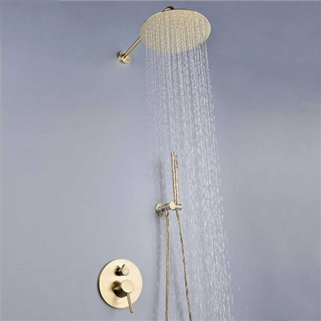 Seirra Brushed Gold Rainfall Shower Set With Tub Spout And Hand Shower