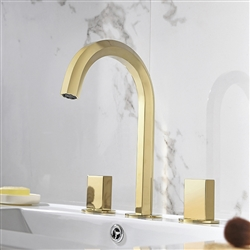 Crimea Dual Handle Deck Mount Sink Faucet In Brushed Gold Finish
