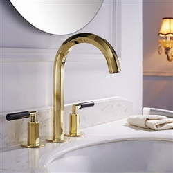 Crimea Dual Handle Deck Mount Sink Faucet In Shiny Gold Finish