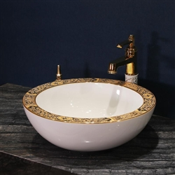 Buy Georgia Round Ceramic Lavabo In White And Gold Finish With Classic Gold Design