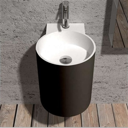 Round sink in matte black Finish with attached faucet