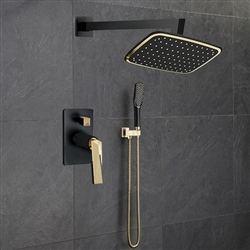 Florento Wall Mount Showerhead and Mixer Faucet With Handheld Shower In Dark Oil Rubbed Bronze And Gold Finish
