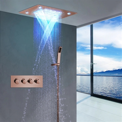 BathSelect Reno Solid Brass Multi Color LED Rain And Waterfall Shower Head With Thermostatic Mixer Valve Shower Set In Rose Gold