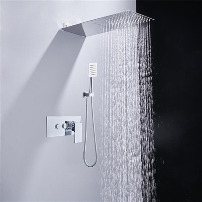 BathSelect Solid Brass Wall Mount Rainfall Shower Head And Shower Mixer With Handheld Shower In Chrome Finish