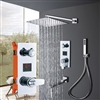 Riviera Wall Mount Square Shower Head And Digital 3 Function Mixer Faucet With Handheld Shower In Chrome Finish