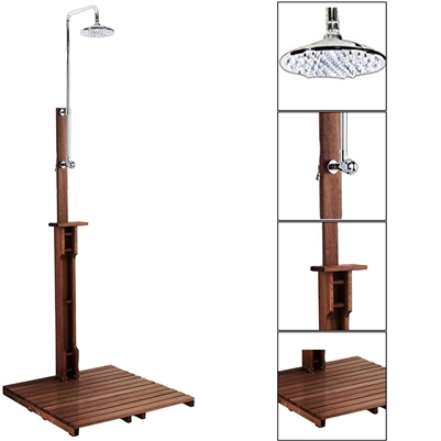 Milano Contemporary Freestanding Stainless Steel Outdoor Solar Powered Shower With Wooden Base