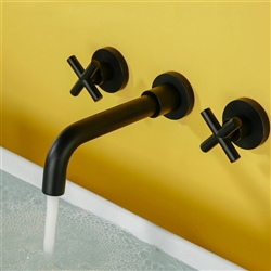 Rennes Matte Black Finish Wall Mount Dual Cross Handle Bathroom Faucet