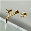 Rennes Polished Gold Finish Wall Mount Dual Cross Handle Bathroom Faucet