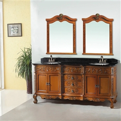 Vience  Wooden Double Vanity Set With Granite Top And Sink