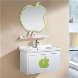Miami Wall Mount Bathroom Vanity With Ceramic Sink And Apple Design Mirror