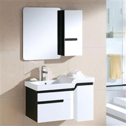 Miami Wall Mount Bathroom Vanity In Black And White Design With Ceramic Sink And Mirror