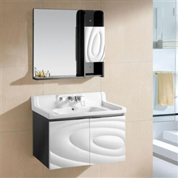 Miami Wall Mount Bathroom Vanity In Black And White Abstract Design With Ceramic Sink And Mirror