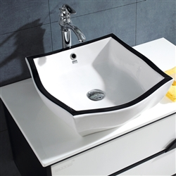 Miami Wall Mount Bathroom Vanity In White And Black With Deck Mount Ceramic Sink
