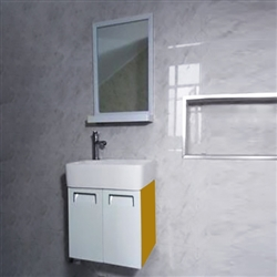 Romania Contemporary Wall Mount Bathroom Vanity Cupboard In Yellow Color With Ceramic Sink