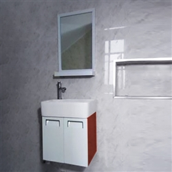 Romania Contemporary Wall Mount Bathroom Vanity Cupboard In  Red Color With Ceramic Sink