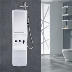 Penne Shower Panel System With Rainfall Shower Head And Mirror