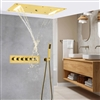 Millo Solid Brass Multi Color LED Rain And Waterfall Shower Head With Handheld Shower And Water Mixer In Gold Finish