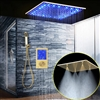 Denver Solid Brass Multi Color LED Rainfall Shower Head With Handheld Shower And SPA Fog Thermostatic Mixer Valve Shower Set In Gold