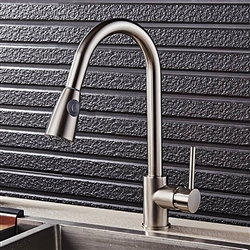 Luna Goose Neck Kitchen Sink Faucet With Pull Out Sprayer In Brushed Nickel Finish