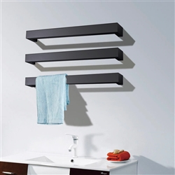 BathSelect Stainless Steel 3 bar Wall Mount Electric Towel Warmer With Polished Switch In Dark Oil Rubbed Bronze Finish