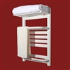 BathSelect Stainless Steel Pure White Electric Heating Wall Mount Towel Warmer With White Towel