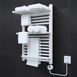 BathSelect Double Layer Electric Towel Warmer With Intelligent Temperature Control In White Finish