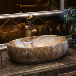 Shop BathSelect European Style Oval Shaped Deck Mount Marble Sink With Attached Vintage Faucet